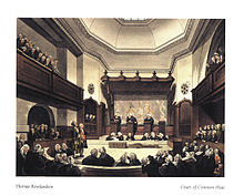 A drawing of the Court of Common Pleas, created in the early 1800s. Three Justices in black robes stand on podiums in the middle of the room, hearing a case. Around the outside of the room, the public is listening in on the case.