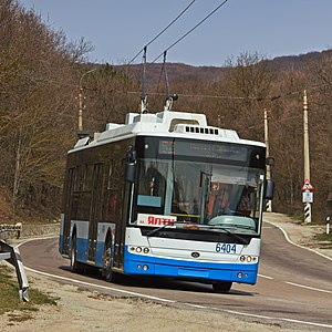 Crimean Trolleybus - A Bohdan T601-11 trolleybus on interurban route 52 Simferopol–Alushta–Yalta between Angarskyi Pass and Alushta