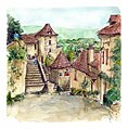 Croquis aquarellé- Saint Cirq Lapopie - Lot - France (6017871202).jpg
