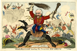 Old Blucher Beating the Corsican Big Drum, George Cruikshank, 8 April 1814 (Source: Wikimedia)