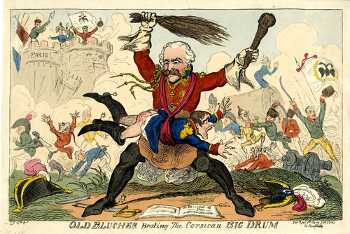 Old Blucher Beating the Corsican Big Drum, George Cruikshank, 8 April 1814 Cruikshank - Old Blucher beating the Corsican Big Drum.png