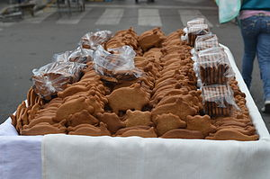 Pan dulce - Cochinitos sold by a street vendor at a fair in Cuajimalpa, Mexico City