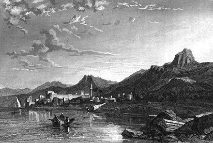 An illustration of Kyrenia in 1837 Cyprus, Illustration for La Terre-Sainte et les lieux illustrés par les apôtres, by Adrien Egron, 1837 (36).jpg