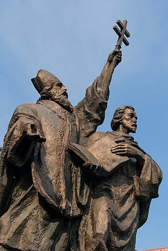 Slovakia - A statue of Saint Cyril and Saint Methodius in Žilina. In 863, they introduced Christianity to what is now Slovakia.