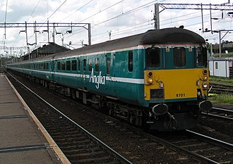 Driving Brake Standard Open - Anglia Railways DBSO 9701 at Colchester station in June 2003