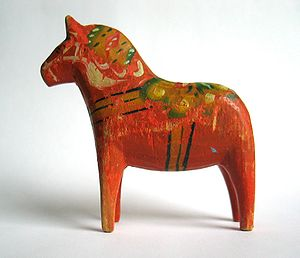 Kurbits - A Dalecarlian horse, from 1950, painted in the kurbits style