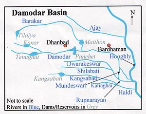 Dwarakeswar River - Image: Damodar Map