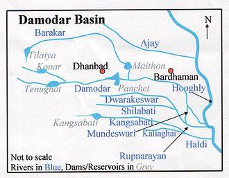 Dwarakeswar River - Image: Damodar Map