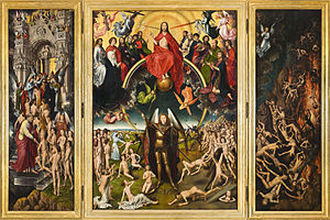 A three paneled painting. The centre panel shows Jesus sitting in judgment on the world, while St Michael is weighing souls. On the left hand panel, the saved are being guided into heaven, while on the right-hand panel, the damned are being dragged to hell