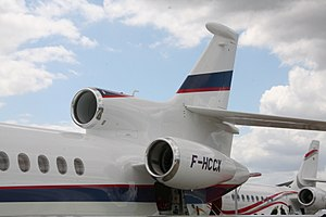 Pratt & Whitney Canada PW300 - Two of the three PW307A installed on the Dassault Falcon 7X
