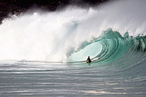 "Bodyboarding - David ""Dubb"" Hubbard charging a large wave at Waimea Shorebreak"