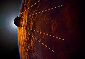 1957 in spaceflight - Artist's impression of Sputnik 1, the first artificial satellite, in orbit