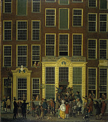 The Bookshop and Lottery Agency of Jan de Groot in the Kalverstraat in Amsterdam