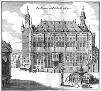 Aachen Rathaus - Engraving by Matthäus Merian in 1647