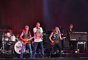 Deep Purple - L–R: Ian Paice, Roger Glover, Ian Gillan, Steve Morse and Don Airey performing live in 2013