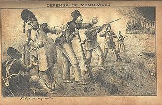 Uruguayan Civil War - An illustration of the defense of Montevideo from Isidoro De-Maria's book, Anales de la defensa de Montevideo.