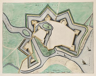 Delfzijl - Map of the fortrifications of Delfzijl from the Atlas Van Loon (1649)