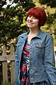 Denim Jacket, Colorful Abstract Print Dress, Red Pixie Cut.jpg