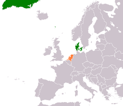 Map indicating locations of Denmark and Netherlands