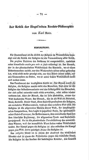 Critique of Hegel's Philosophy of Right - Zur Kritik der Hegelschen Rechtsphilosophie (1844, introduction)