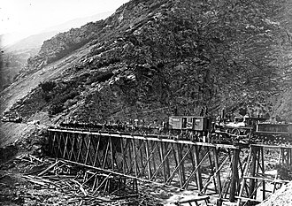 Weber Canyon - The building of Devil's Gate Bridge in Weber Canyon, 1869