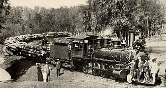 Deweyville, Texas - Logging train at Deweyville Plant of Sabine Tram Company
