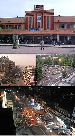 From top clockwise: Dhanbad Railway Station, Golchakkar, Bank more (both)
