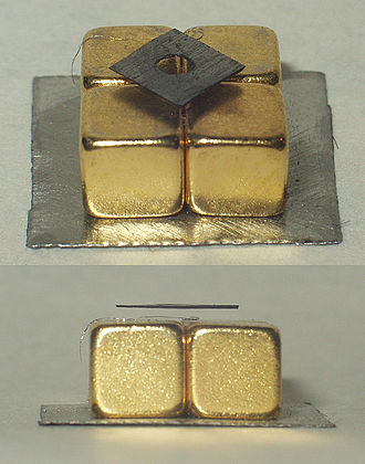 Diamagnetism - Pyrolytic carbon has one of the largest diamagnetic constants of any room temperature material.  Here a pyrolytic carbon sheet is levitated by its repulsion from the strong magnetic field of neodymium magnets.
