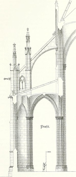 Flying buttress - Architectural drawing of a Neo-Gothic flying buttress for the late 19th-century Votive Church, in Vienna.