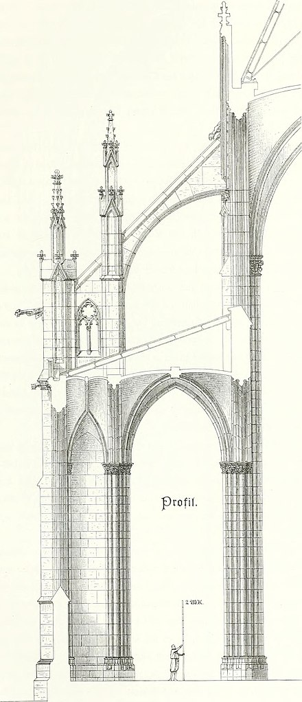 Architectural Drawing Of A Neo Gothic Flying Buttress For The Late 19th Century Votive