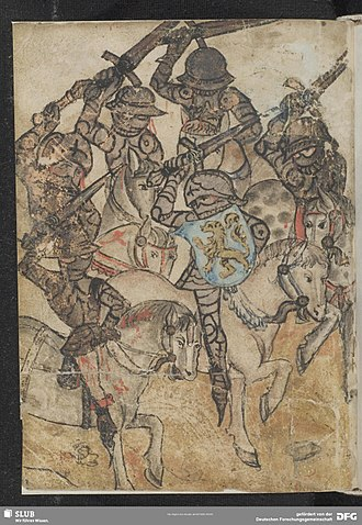 Virginal (poem) - Dietrich fights with six enemies. Title illumination to Virginal in the Dresdner Heldenbuch. SLUB Mscr. Dresd. M. 201 fol. 313v.