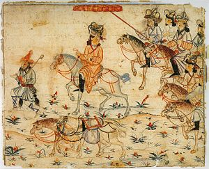 Mongolian nobility - A Mongol ruler on his way through the empire. Illustration of Rashid al-Din's Jami' al-tawarikh.