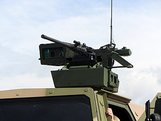 FLW remote weapon station - A FLW 100 mounted on top of a Dingo 2 ATF