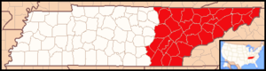 Roman Catholic Diocese of Knoxville - Image: Diocese of Knoxville map