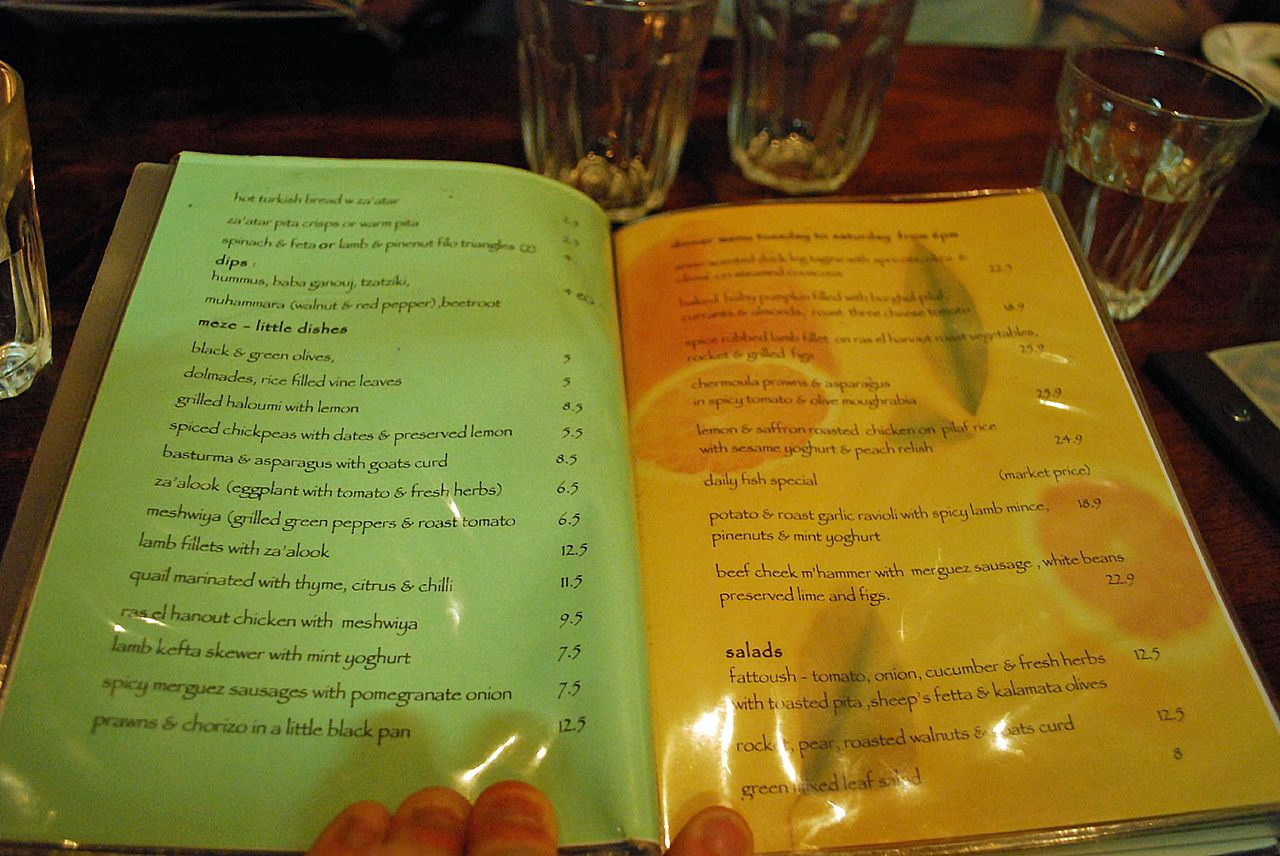 Middle Eastern Cafe Menu