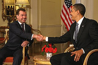 Presidency of Dmitry Medvedev - The first meeting between Dmitry Medvedev and Barack Obama, before the G20 summit in London on 1 April 2009.