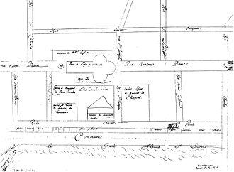 Saint Jacques Street - Montreal map drawn by François Dollier de Casson in 1672