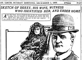 Loren and Dora Doxey - Sketches of Dora Doxey and Loren Doxey on the front page of the St. Louis Post-Dispatch, December 5, 1909