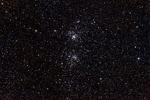 9 Persei - The Double Cluster.  9 Persei is the brightest star right side of the image.  North is to the left.