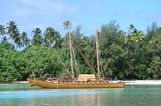 Polynesian multihull terminology - A doubled hulled vaka in Rarotonga.