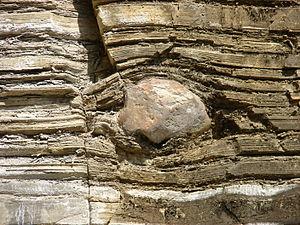 Dropstone - A dropstone of quartzite in layered rhythmite at Itu, Brazil