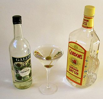 A martini: gin, vermouth, olive Dry Martini.jpg
