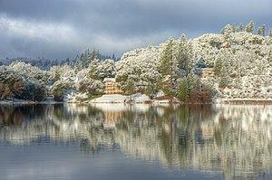 Pine Mountain Lake, California - View across a calm Pine Mountain Lake toward the Dunn Court area