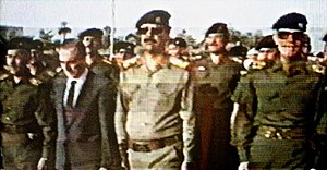 Ba'athism - Iraqi and Syrian Ba'athist leaders (belonging to the Ba'ath Party headquartered in Baghdad) during the funeral of Michel Aflaq in 1989.