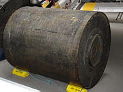 An original Upkeep bouncing bomb at the Imperial War Museum Duxford