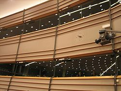 Interpretation booths in the debating chamber of the European Parliament (Brussels).