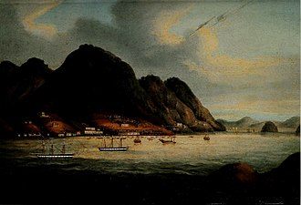 British Hong Kong - Possibly the earliest painting of Hong Kong Island, showing the waterfront settlement which became Victoria City