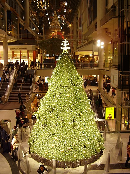 A Christmas tree at the Eaton Centre in Toronto. Christmas is traditionally celebrated on December 25 every year.