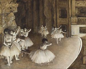 Répétition d'un ballet sur la scène