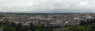 New Town, Edinburgh - Edinburgh's New Town, viewed from Edinburgh Castle. Princes Street and the Princes Street Gardens are visible in the foreground.